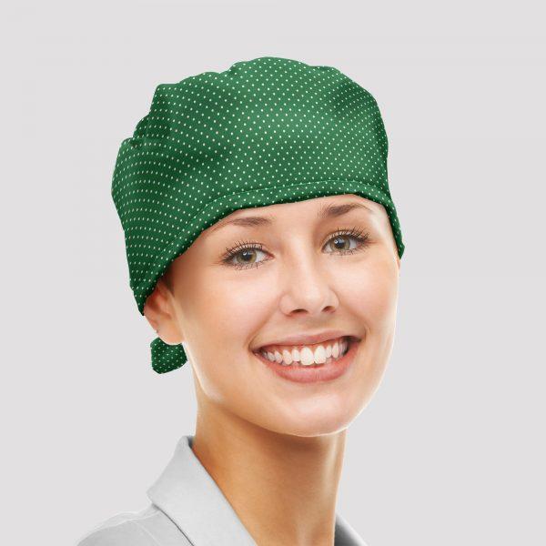 Gorro sanitario lunares verdes vista frontal