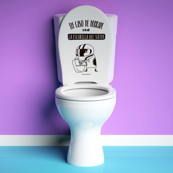 Vinilo baño En caso de derrape usar la escobilla del váter